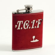 Bey-Berk FS376 Stainless Steel Red Leather TGIF Flask With Captive Cap and Rubber Seal, 6 oz.