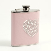 Bey-Berk Stainless Steel  Pink Flask With Reign Stone Heart Design, Cap and Rubber Seal, 6 oz.