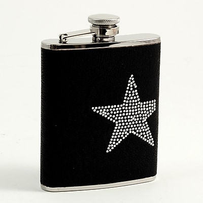 Bey-Berk FS416 Stainless Steel Black Flask With Reign Stone Star Design, Cap and Rubber Seal, 6 oz.