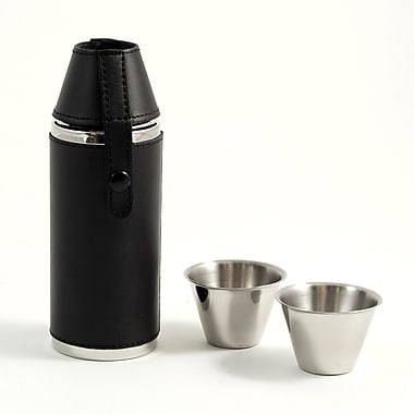 Bey-Berk Stainless Steel Black Leather Cylinder Flask With Two Cups, 8 oz.