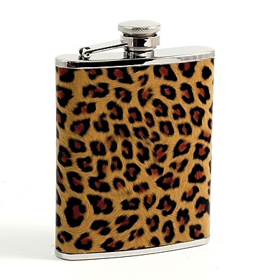 Bey-Berk Stainless Steel Leopard Pattern Flask With Captive Cap and Rubber Seal, 6 oz.