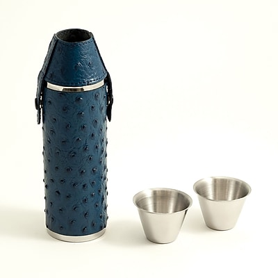 Bey-Berk Stainless Steel Blue Ostrich Leather Flask With Two Cups, 10 oz.