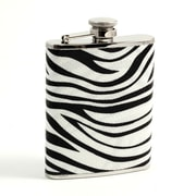 Bey-Berk FS456 Stainless Steel Zebra Pattern Flask With Captive Cap and Durable Rubber Seal, 6 oz