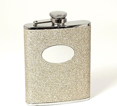 Bey-Berk FS476G Stainless Steel Gold Glitter Flask With Oval Medallion, Cap and Rubber Seal, 6 oz.