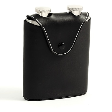 Bey-Berk Stainless Steel Flasks With Black Leather Carrying Case and Belt Strap, 3 oz., Two