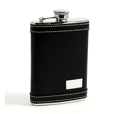 Bey-Berk Stainless Steel Black Leather Flask With White Stitching and Engraving Plate, 8 oz.
