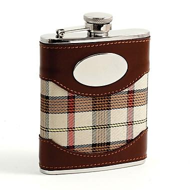 Bey-Berk Stainless Steel Leather Plaid Fabric Flask, Brown/Beige, 6 oz. (FS746)