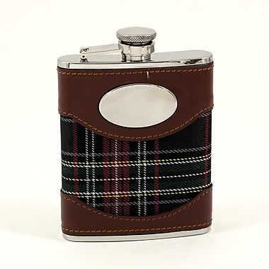 Bey-Berk Stainless Steel Leather Plaid Fabric Flask, Brown/Blue, 6 oz. (FS756)