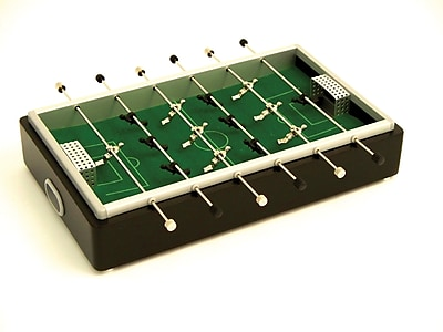 Bey-Berk Desktop Foosball Game Set, Aluminum and Mahogany Wood