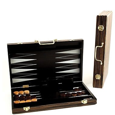 Bey-Berk Backgammon Set With Birch Wood Exterior and Black and White Interior Inlay