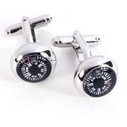 Bey-Berk J117 Rhodium Plated Cufflinks, Functional Compass