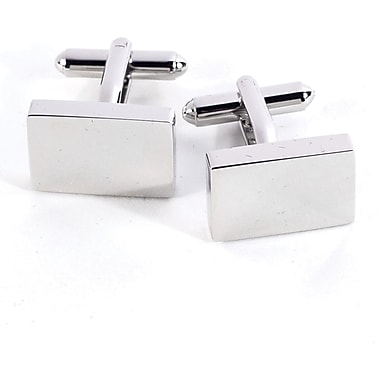 Bey-Berk Rhodium Plated Cufflinks, Rectangular