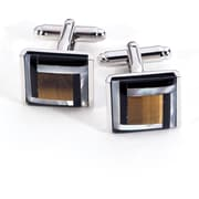 Bey-Berk Rhodium Plated  Cufflinks With Black and Gold Semi Precious Stones, Square