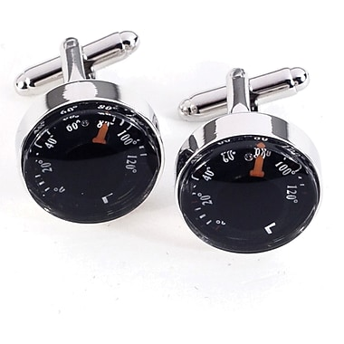 Bey-Berk Rhodium Plated Cufflinks, Functional Thermometer (J127)