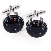 Bey-Berk Rhodium Plated  Cufflinks, Functional Thermometer