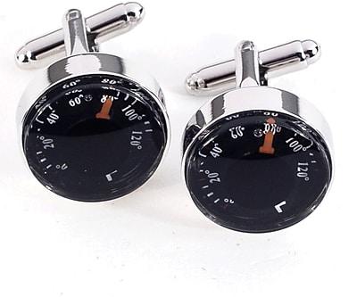 Bey-Berk J127 Rhodium Plated Cufflinks, Functional Thermometer