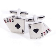 Bey-Berk J134 Rhodium Plated Cufflinks, Four Aces