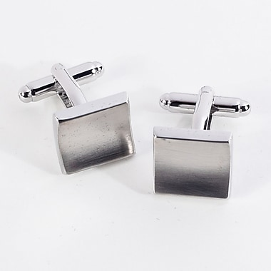 Bey-Berk Rhodium Plated Satin Cufflinks