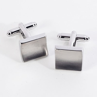 Bey-Berk J145 Rhodium Plated Satin Cufflinks