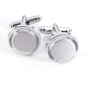 Bey-Berk Rhodium Plated  Satin and Chrome Cufflinks, Round