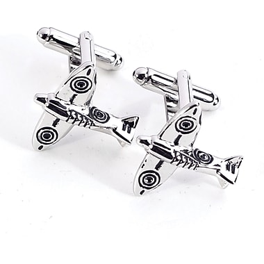 Bey-Berk Rhodium Plated Cufflinks, Airplane