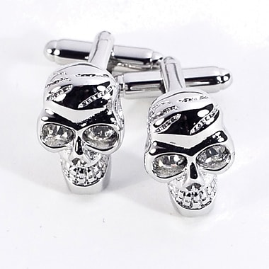 Bey-Berk Rhodium Plated Cufflinks, Skull