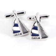 Bey-Berk Rhodium Plated  Cufflinks, Sailboat