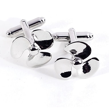 Bey-Berk Rhodium Plated Cufflinks, Propeller