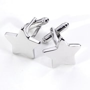 Bey-Berk J188 Rhodium Plated Cufflinks, Star