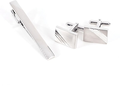 Bey-Berk Rhodium Plated Cufflink and Tie Pin Set With Satin Finish and Striped Design