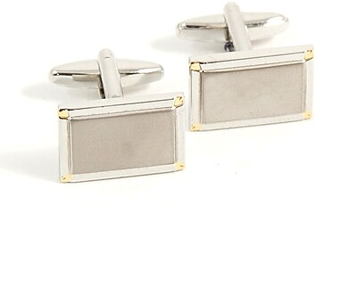 Bey-Berk J200 Rhodium Plated Gold Cufflinks, Rectangular