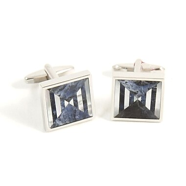Bey-Berk Rhodium Plated Cufflinks With Semi Precious Stones