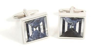 Bey-Berk J204 Rhodium Plated Cufflinks With Semi Precious Stones
