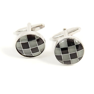 Bey-Berk Rhodium Plated Cufflinks With Semi Precious Grey/Black Stones