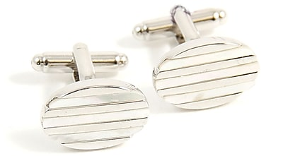 Bey-Berk J207 Rhodium Plated Cufflinks, Oval
