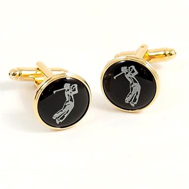 Bey-Berk Gold Plated Cufflinks, Golfer