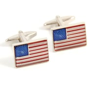 Bey-Berk Rhodium Plated  Cufflinks, USA Flag