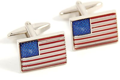 Bey-Berk Rhodium Plated Cufflinks, USA Flag