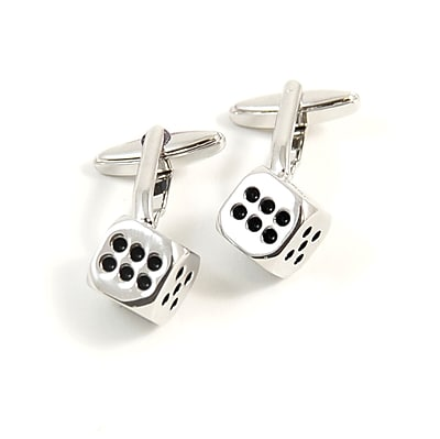 Bey-Berk Rhodium Plated Cufflinks, Dice