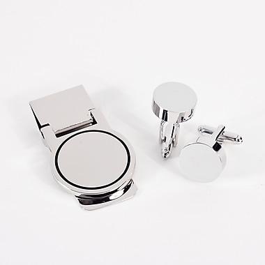 Bey-Berk Circular Design Cufflink and Money Clip Set, Silver Plated