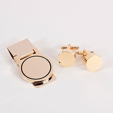 Bey-Berk Circular Design Cufflink and Money Clip Set, Gold Plated