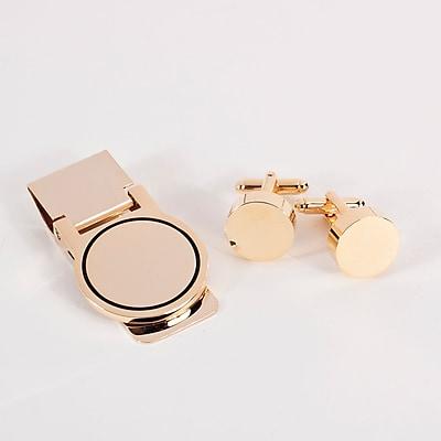 Bey-Berk Circular Design Cufflink and Money Clip Set, Gold Plated