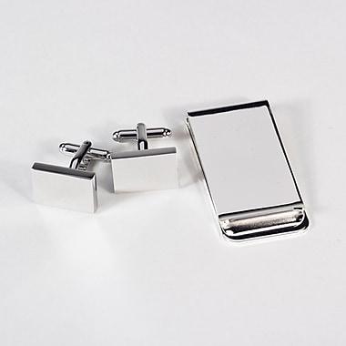 Bey-Berk Rectangular Design Cufflink and Money Clip Set, Silver Plated