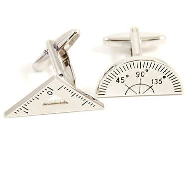 Bey-Berk Rhodium Plated Cufflinks, Protractor or Triangle