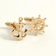 Bey-Berk Gold Plated Cufflinks, Ship's Anchor/Wheel (J223)