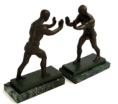 Bey-Berk Atlas Bookends, Brass and Marble Base, Bronze Finish