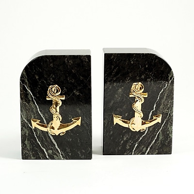 Bey-Berk Anchor Bookends, Green Marble, Gold Plated Finish
