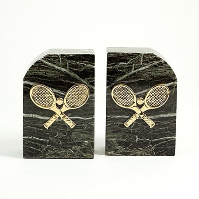 Bey-Berk Tennis Bookends, Green Marble, Gold Plated Finish