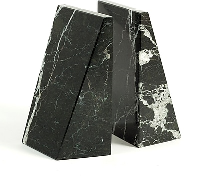 Bey-Berk Bookends, Black Zebra Marble, Mirror Finished