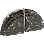 Bey-Berk R10J Bookends, Black Zebra Marble, Mirror Finished